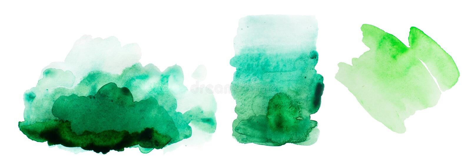 Watercolor green splash elements on white background royalty free illustration