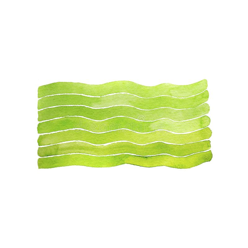 Watercolor green waves print on white background. Graphic element for design stock photography