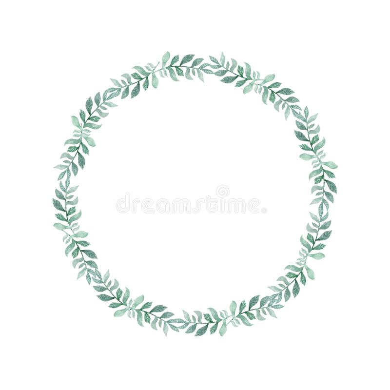 Watercolor green wreath of leaves. Hand drawn cartoon style illustration. Cute circle frame for wedding, holiday or card design on royalty free illustration