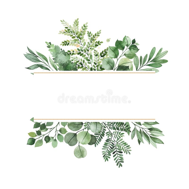 Free Watercolor Greenery Frame Invitation With Leaves,fern,branches,berry Stock Photography - 175072752