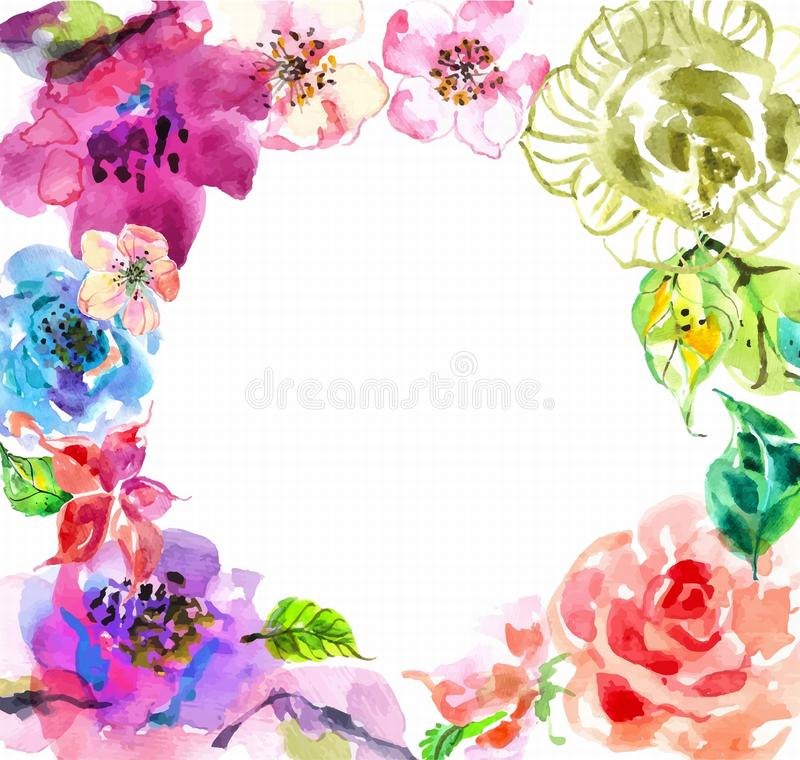Watercolor hair dryers, scissors and comb set over white. With flowers and text
