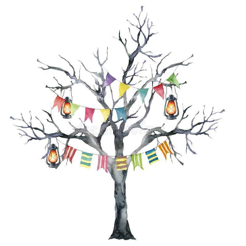 Watercolor halloween card with black tree and flag garland. Hand painted holiday template with burning lantern and wood. Isolated on white background stock illustration