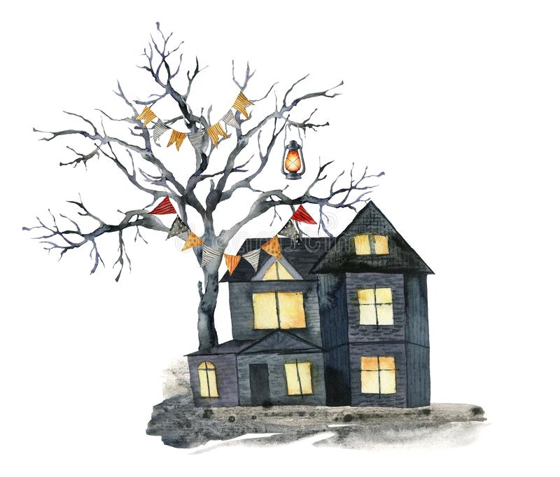 Watercolor halloween card with black tree and house. Hand painted holiday template with flag garlands, lantern and wood stock illustration