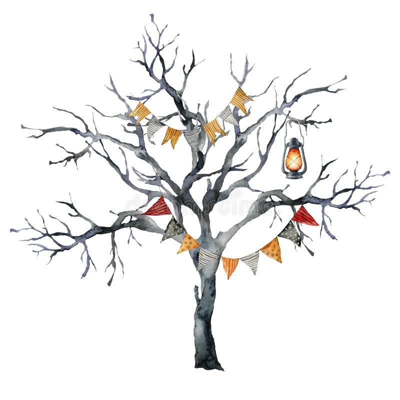 Watercolor halloween card with black tree and lantern. Hand painted holiday template with flag garlands and wood. Isolated on white background. Illustration for stock illustration