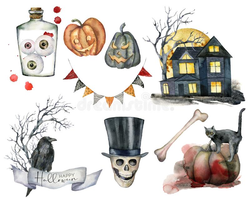 Watercolor halloween elements set. Hand painted holiday set with cat, pumpkin, house, tree, skull, garland, crow and eye. Isolated on white background vector illustration