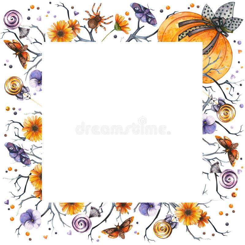 Watercolor Halloween frame. Of pumpkin, insects and sweets royalty free illustration