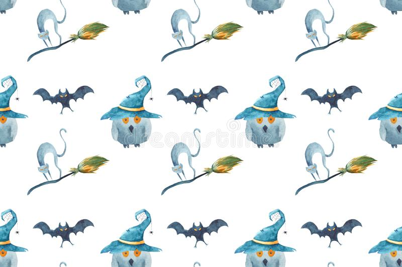 Watercolor Halloween seamless pattern. Hand painted on white background. Cat, bat, broom, owl, wizard`s hat. vector illustration
