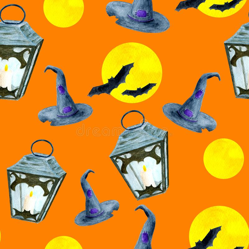 Watercolor Halloween seamless pattern isolated on orange background. Scary flying bats, full moon, lanterns with candles stock illustration