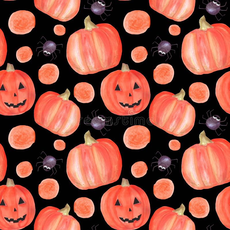 Watercolor halloween seamless pattern with pumpkins, spiders, circles. Pattern suitable for decoration for party, invitation, vector illustration