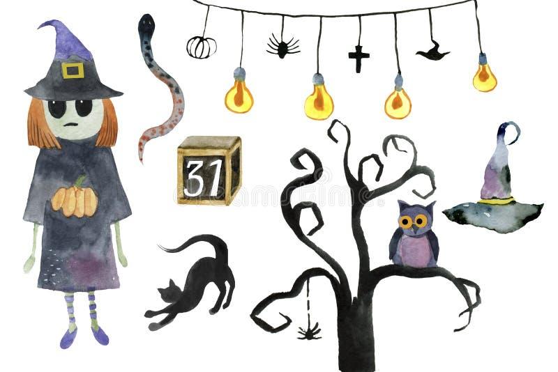 Watercolor Halloween Set. Cute illustrations for Halloween. stock photo