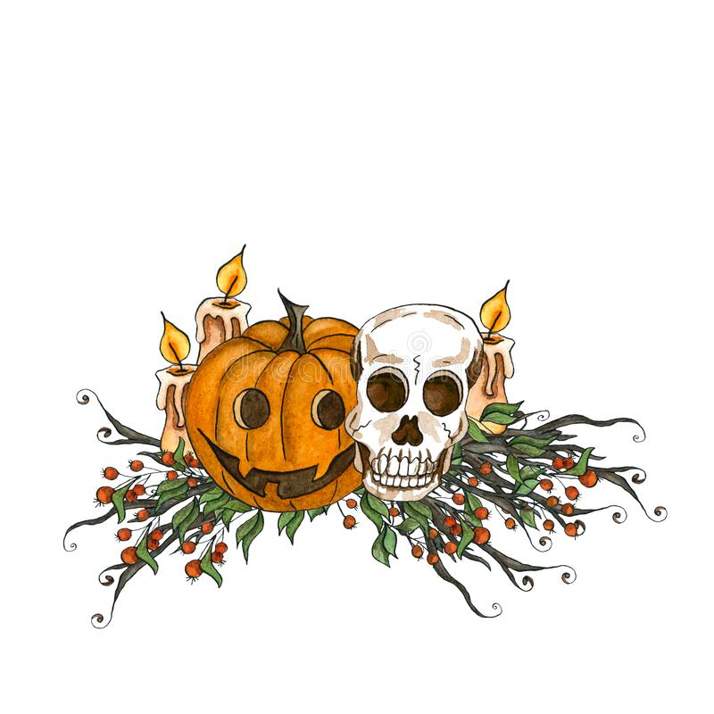 Watercolor Halloween set. Halloween holiday composition with scull, candle and pumpkin on white background stock illustration