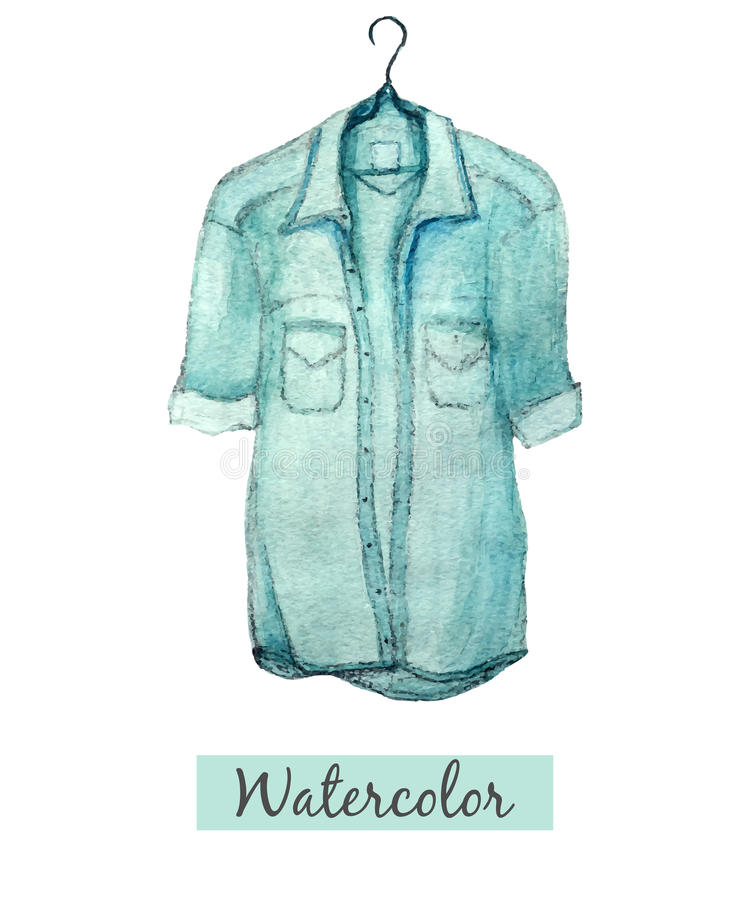Watercolor hand draw blue denim shirt on white background royalty free illustration