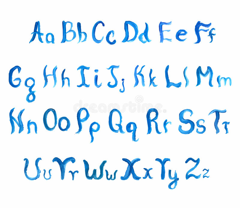 Watercolor hand-drawn alphabet. royalty free illustration