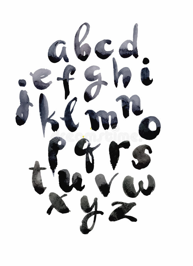 Watercolor hand drawn alphabet. Vector illustration. Brush painted letters. royalty free illustration