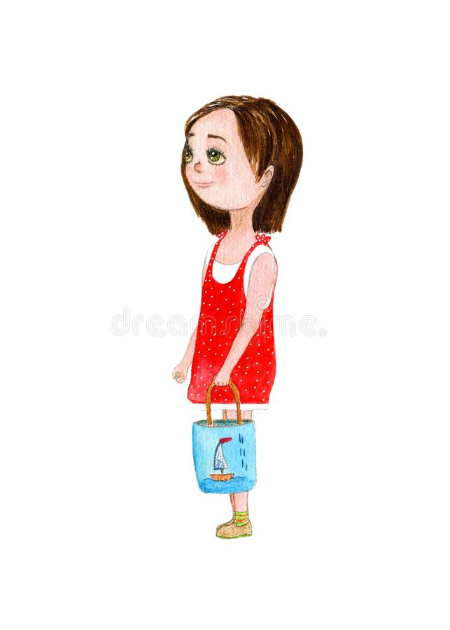 Watercolor hand drawn art with beautiful cartoon brunette girl in red dress on the white background. royalty free illustration