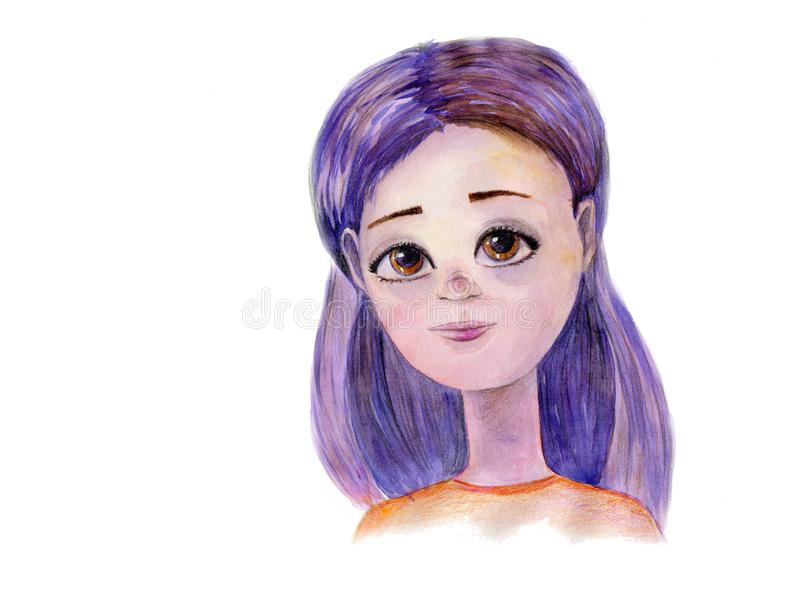 Watercolor hand drawn art with beautiful cartoon girl with violet hair on the white background. vector illustration