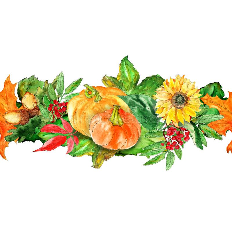 Watercolor hand drawn artistic colorful Harvest Thanksgiving fall  vintage seamless border. Isolated stock illustration