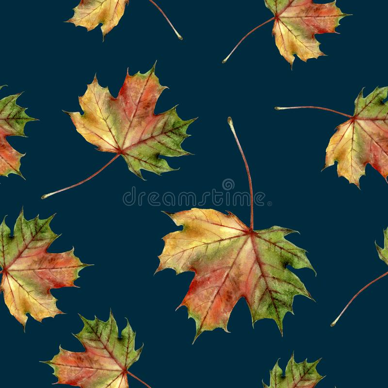 Watercolor hand drawn autumn leaf isolated seamless pattern. Seamless autumn pattern with autumn leaf maple. Hand drawn watercolor illustration royalty free illustration