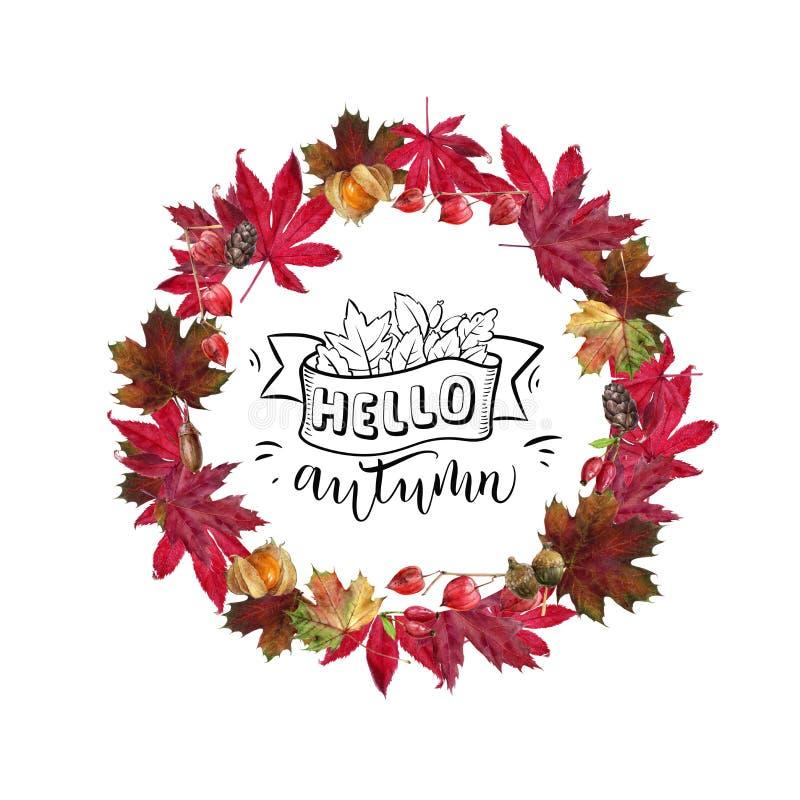 Watercolor hand drawn autumn leaves design template card. Watercolor autumn greeting card template. Hand drawn watercolor illustration. Autumn leaves, berries vector illustration