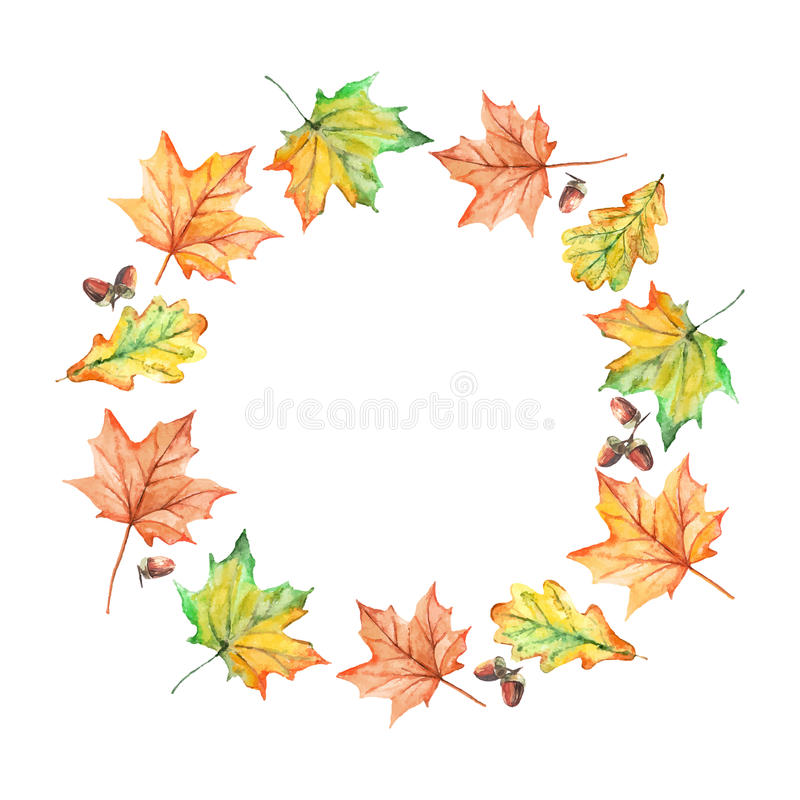 Watercolor hand drawn autumn leaves frame royalty free illustration