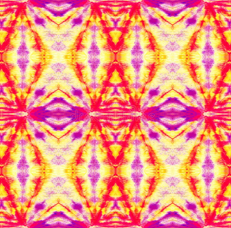 Tie Dye Pattern. Watercolor hand drawn batik. Summer ink japan illustration. Handmade watercolour shirt tie dye pattern. Aztec kaleidoscope texture. Shibori stock illustration