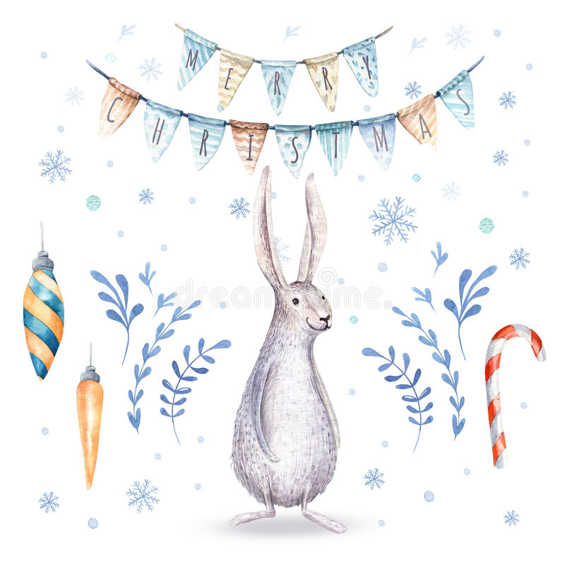 Watercolor hand drawn christmas cute illustrations gift collecti. On with rabbit amd letering. Christmas set for scrapbook, card, invitation. Cute winter royalty free illustration