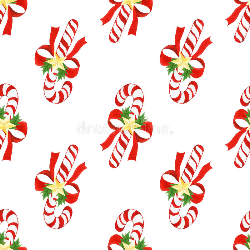 Watercolor hand drawn christmas cute pattern. seamless background with candy canes,bows,golden stars and holly leaves royalty free illustration