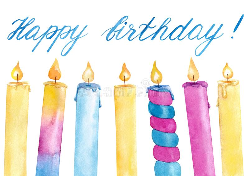 Watercolor hand drawn colorful birthday candles with flame set with hand writing lettering isolated on white background. Decoration for birthday card royalty free illustration