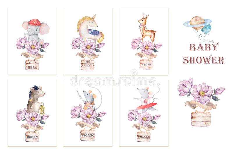 Cute set for baby shower watercolor illustration, birthday greeting cards,posters for baby room, invite, kids, honoring. Hand stock illustration