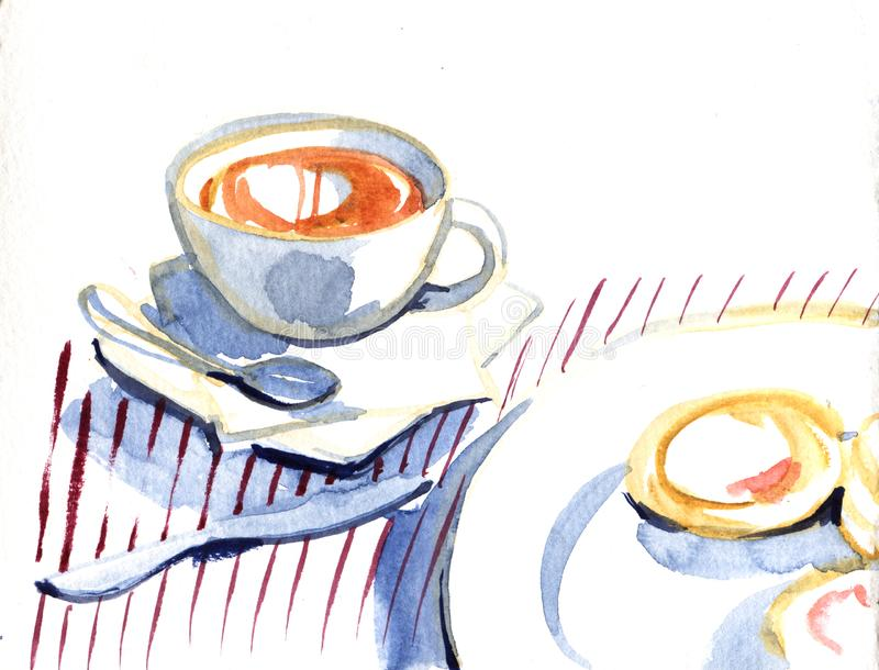 Watercolor hand drawn cup of coffee with french crepes, pancakes delicious breakfast, food design, illustration on white stock illustration