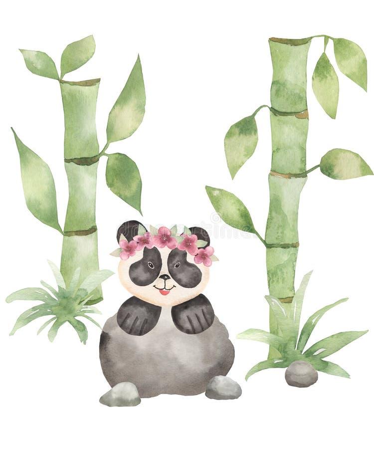 Watercolor hand drawn Cute Panda bear wild animal with flower wreath in cartoon style. card illustration with bamboo,sakura royalty free illustration
