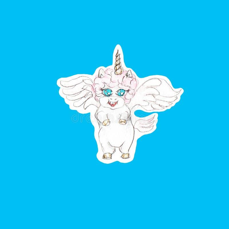 Watercolor hand drawn cute unicorn illustration isolated royalty free illustration