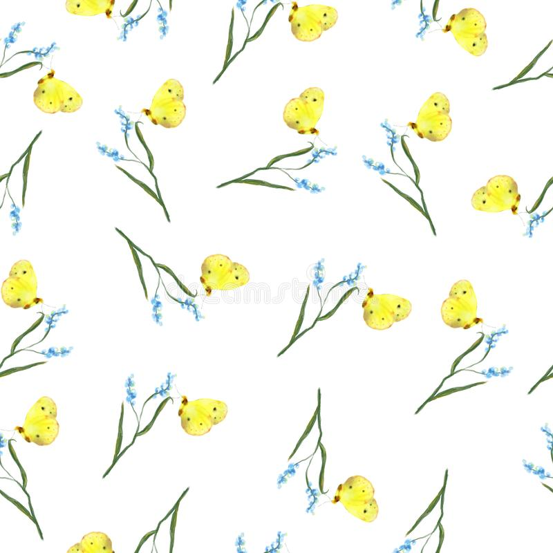 Watercolor hand drawn delicate flowers and butteflies  seamless pattern royalty free illustration
