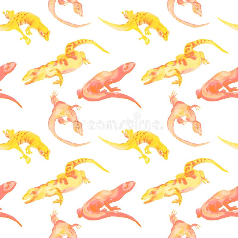Watercolor hand drawn different shape sand color lizards royalty free stock images