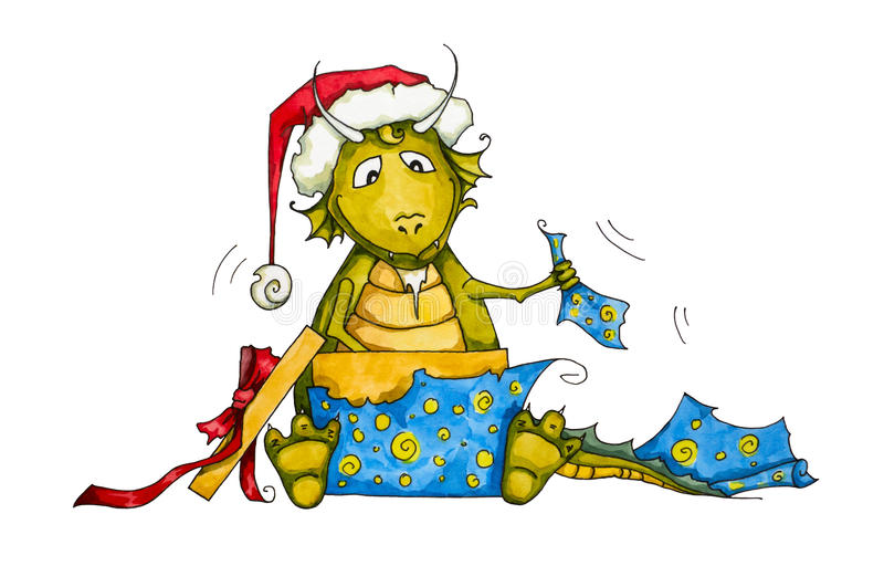 Download Watercolor Hand Drawn Dragon Unpacking His Gift Stock Illustration - Image: 22112787