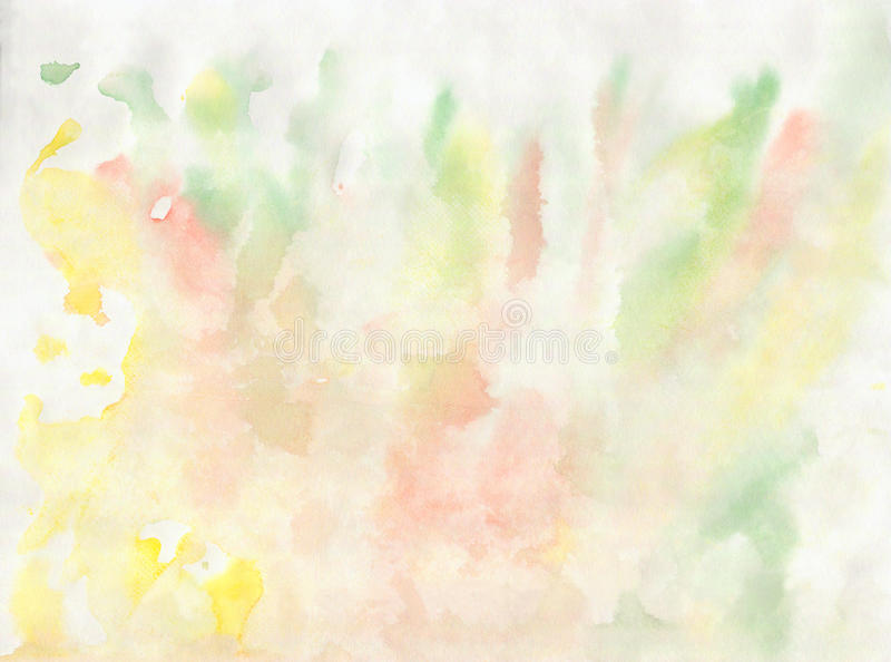 Watercolor hand drawn elements yellow green royalty free illustration
