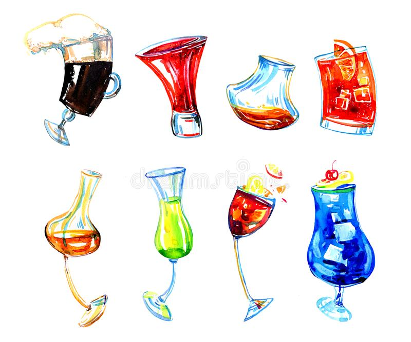 Watercolor hand drawn expressive illustration with glasses of different alcohol drinks. Irish coffee, limoncello, negroni royalty free illustration