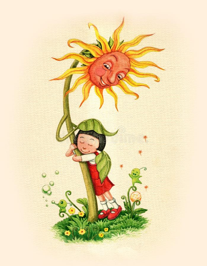 Watercolor hand drawn fairytale sunflower and child vector illustration