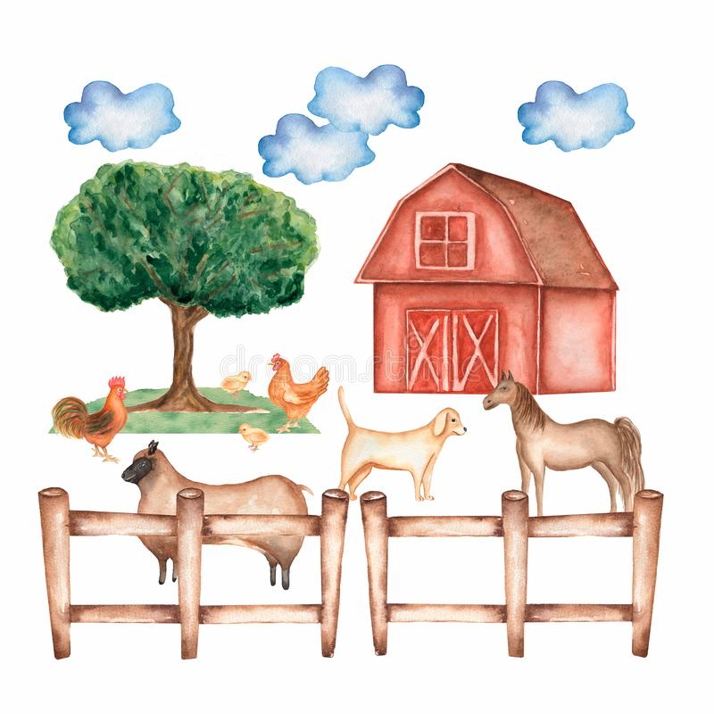 Watercolor hand drawn farm. Hand drawn animals and objects: barn. tree, clouds, grass, fence, hen,chicken,rooster,dog,sheep and vector illustration