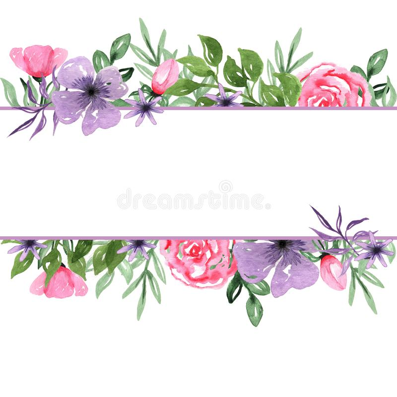 Watercolor Hand drawn Floral Arrangement Background Frame royalty free illustration