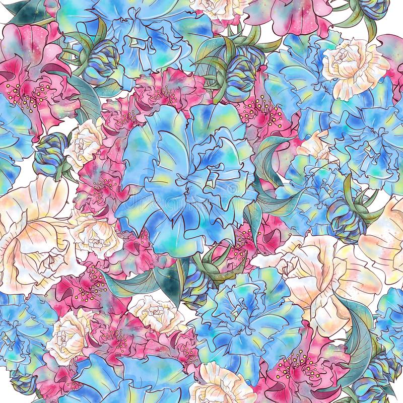 Watercolor hand drawn floral vintage seamless pattern royalty free illustration