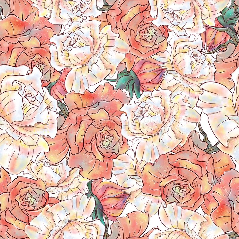 Watercolor hand drawn floral vintage seamless pattern vector illustration
