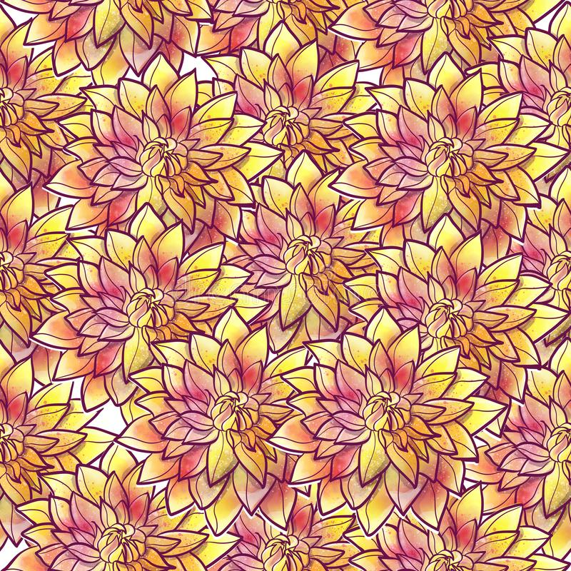 Watercolor hand drawn floral vintage seamless pattern stock illustration