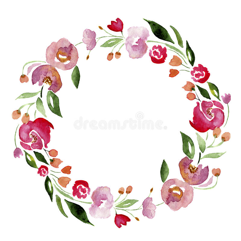 Watercolor hand-drawn flower wreath for design. Artistic isolated illustration. Watercolor hand-drawn flower wreath for design. Artistic illustration