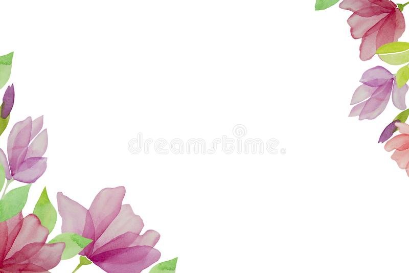 Watercolor hand drawn flowers isolated on a white background. Design element. Summer background wedding fashion greeting card abstract floral love pattern rose royalty free stock photo