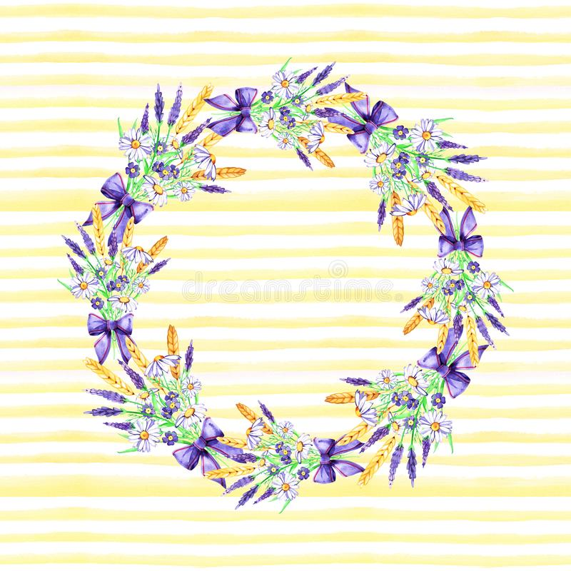 Watercolor hand drawn frame. Wreath. Card. Flowers, herbs and leaves. Lavender and chamomile. Collection. Watercolor hand drawn frame. Wreath. Card. Flowers stock illustration
