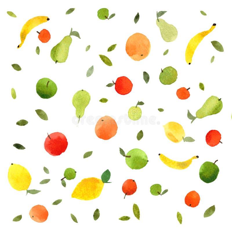 Watercolor hand-drawn fruits, fresh apples, pears, lemons, oranges, mandarins, tangerines, bananas. Fruits pattern seamless watercolor illustration, colorful vector illustration
