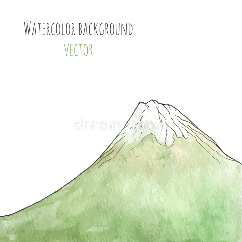 Watercolor hand drawn green mountain. vector illustration. Template for the poster, cover, advertising, flyer. Artwork wi stock illustration