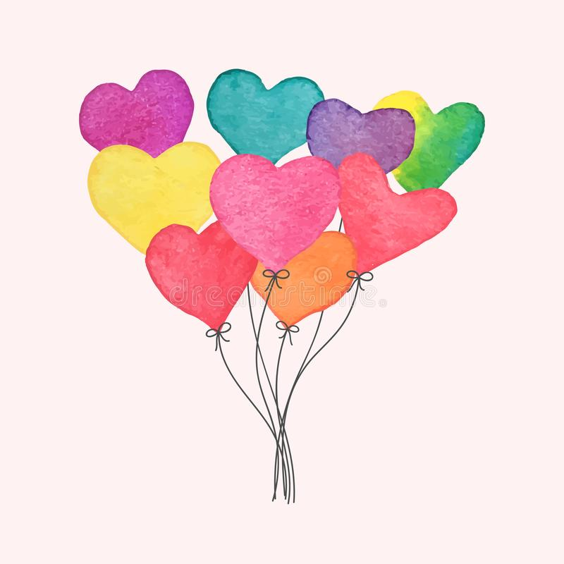 Watercolor hand drawn heart balloons. Hand made Valentines Day card. Colorful romantic design element for greeting card, wedding royalty free illustration