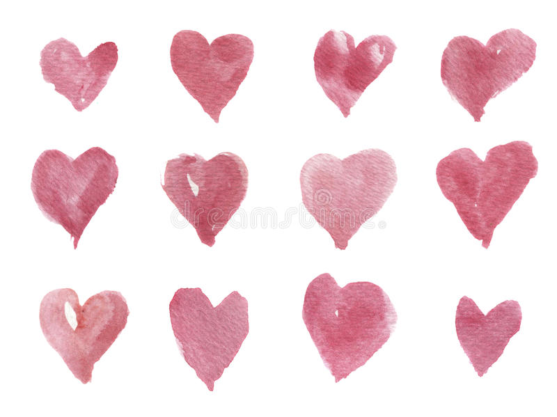 Watercolor hand-drawn hearts for design, background and textile. Artistic isolated illustration. Watercolor hand-drawn hearts for design, background and textile royalty free stock photo